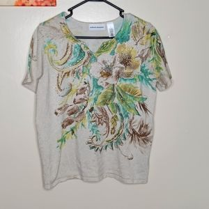 Alfred dunner Top Floral short sleeves Size S